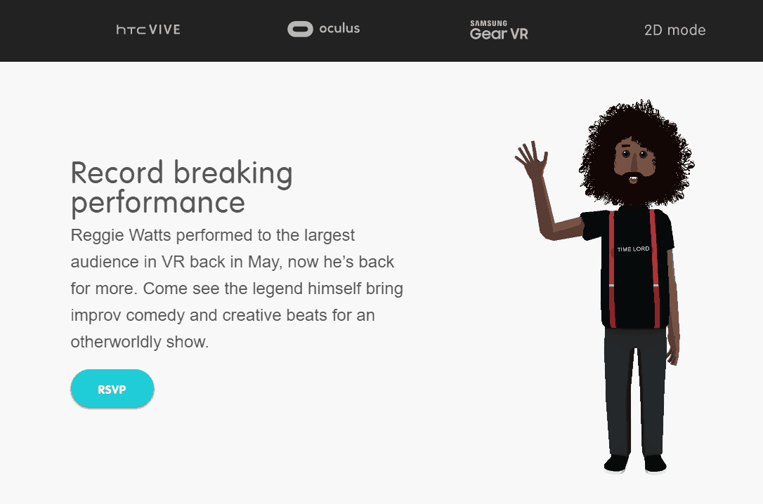 Reggie Watts i AltspaceVR