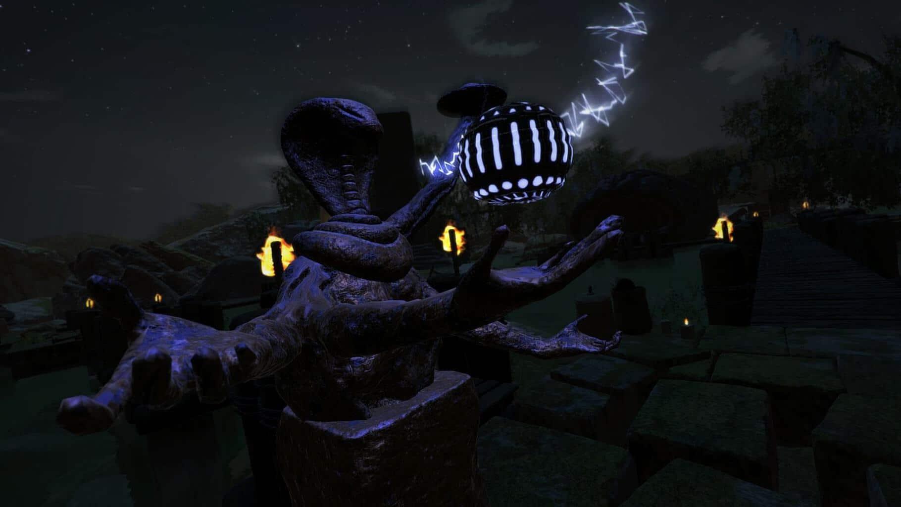 Någon sorts elak ormgud med lysande bollar?