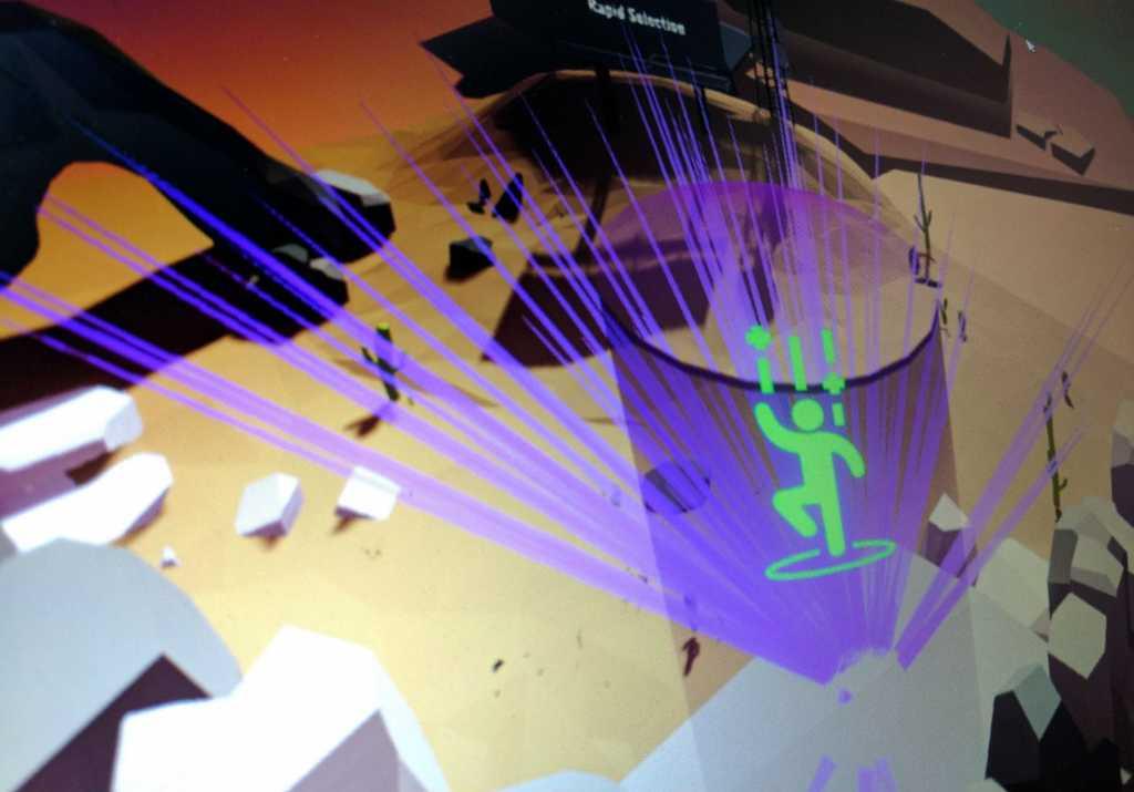 Detta är en skärmdump från Tobiis demo som visar ögonrörelserna över tio sekunder. De lila linjerna representerar vad som fångade mitt öga i den virtuella världen. Data från detta används redan för att optimera speldesignen