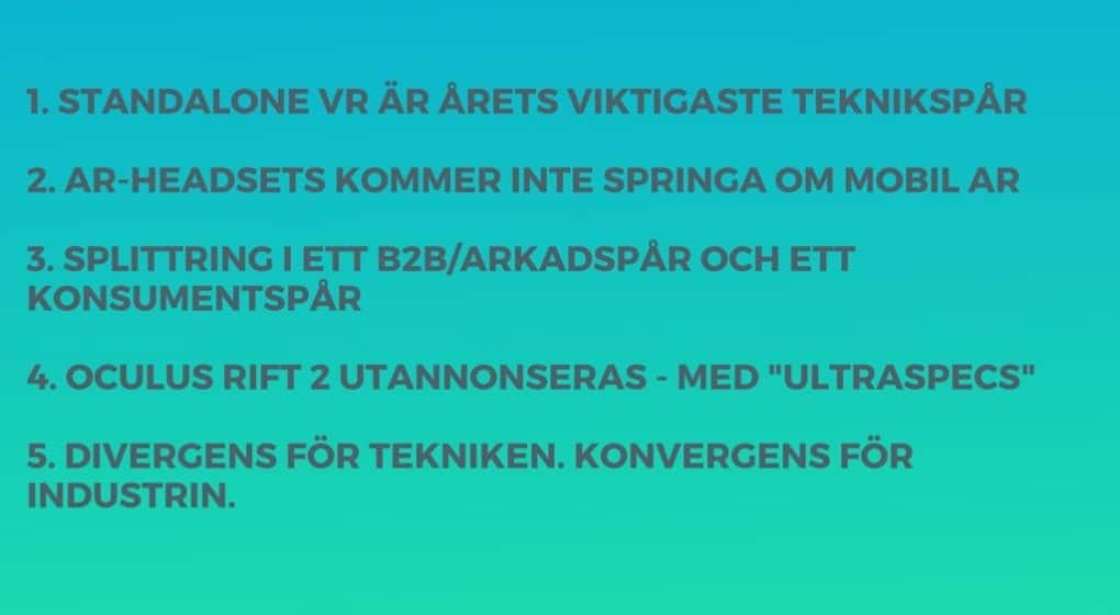 AR/VR 2018: 5 spådomar från VRSverige