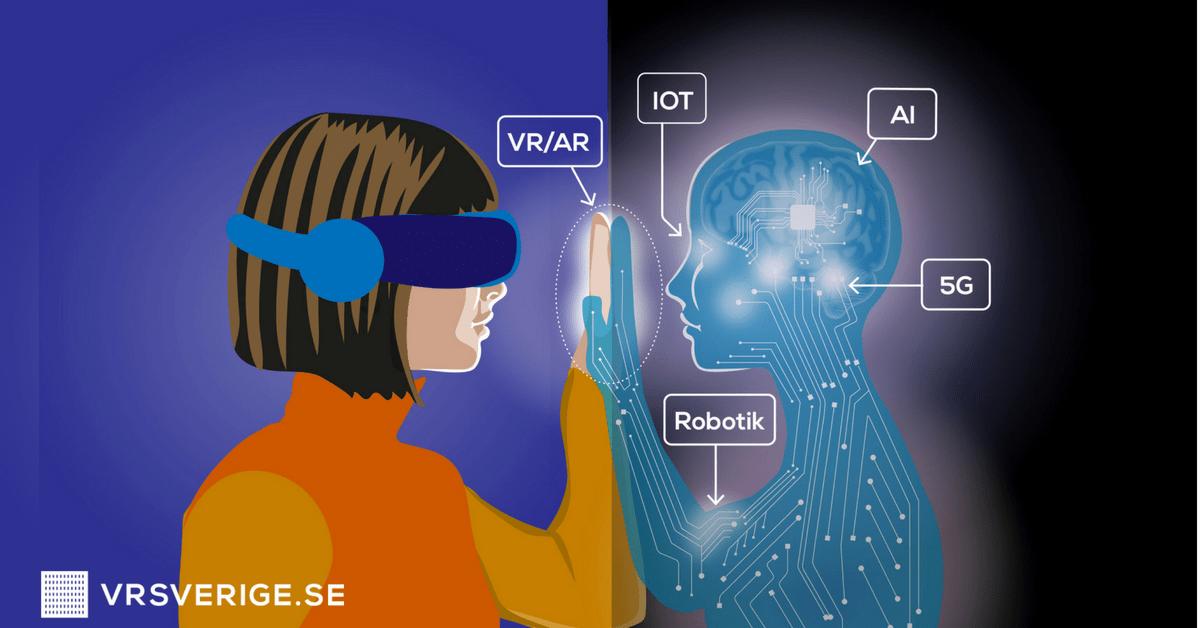 VR, AR kopplat till AI, 5G, IOT, Robotik: illustration